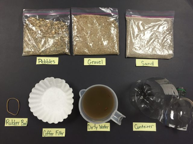 How can our team use these materials to build a water filter?