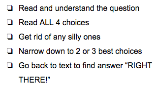 "Strategies for answering multiple choice questions with ""right there"" answers"