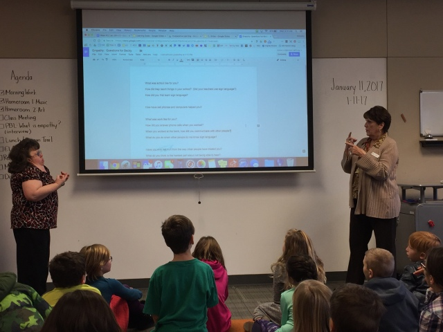 """Special guests, """"Aunt Becky"""" and """"Grannie"""" (Mrs. Shannon's family), share about experiences of growing up and living as a deaf person."""